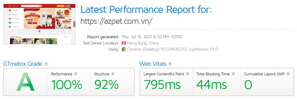 Tối ưu tốc độ website trên GTMetrix