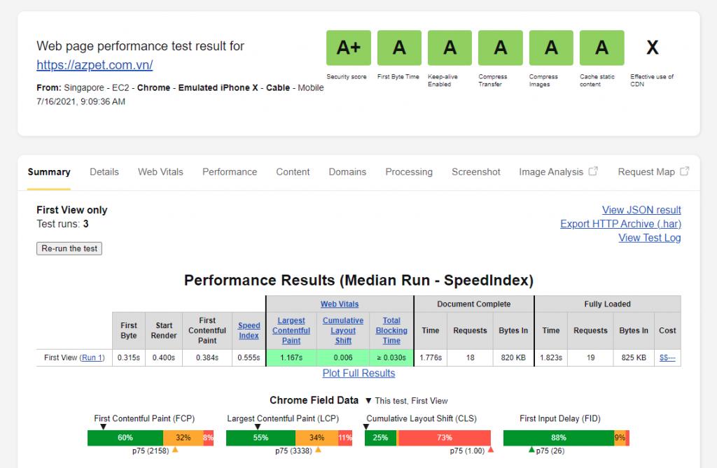 Tối ưu tốc độ website trên WebPageTest