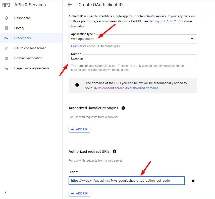 Đăng ký OAuth account trong Google Cloud