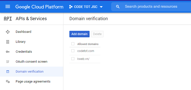 Xác thực tên miền trong Google Cloud