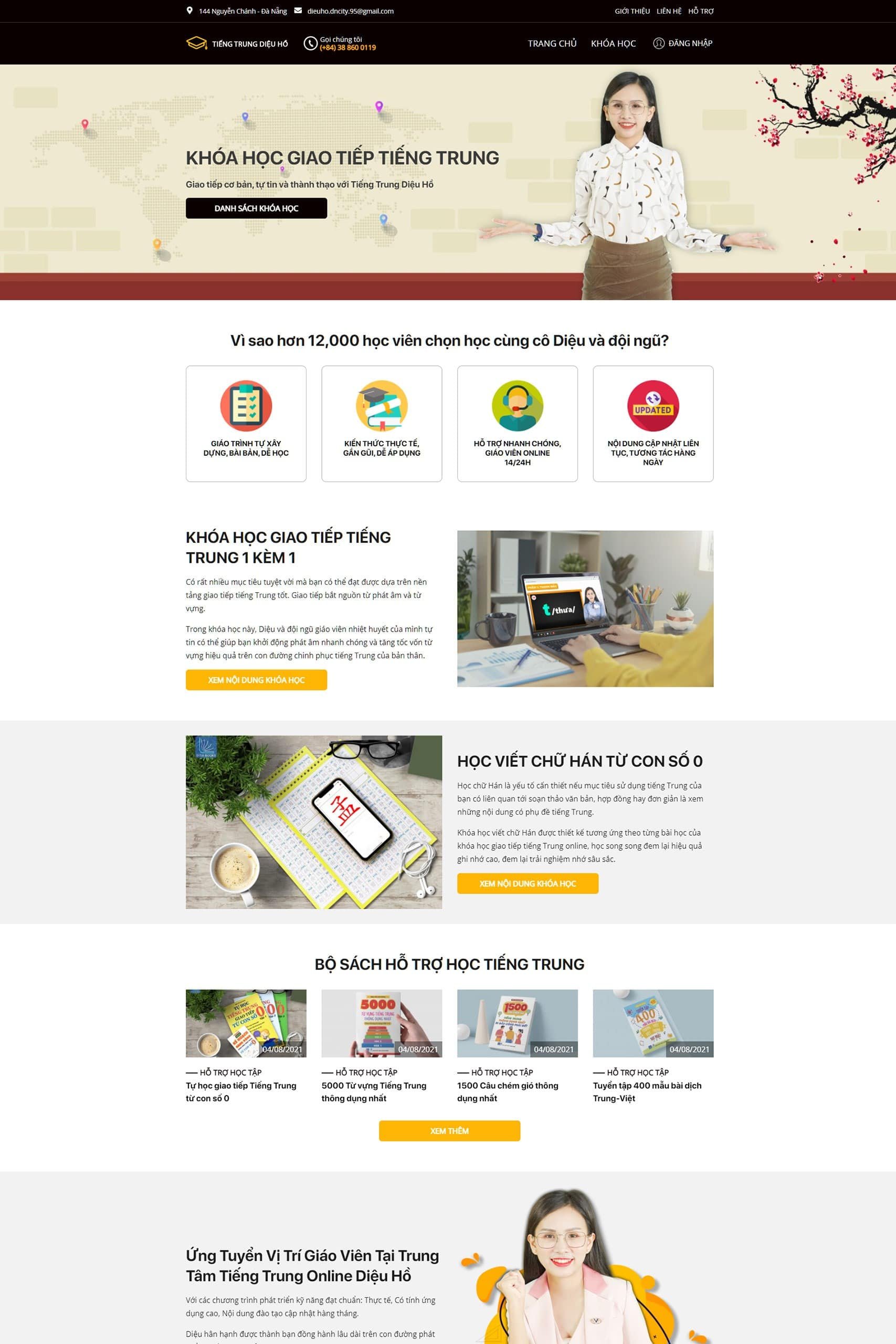 Giao diện website Tiếng Trung Diệu Hồ